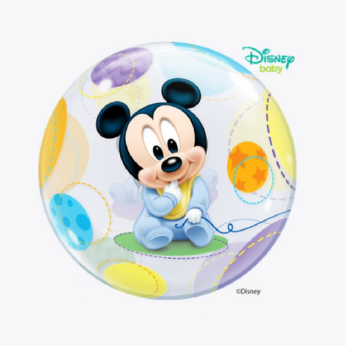 Round bubble balloon with picture of mickey mouse in blue