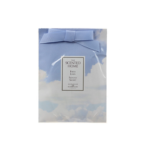 Square sachet with blue ribbon and cloud design
