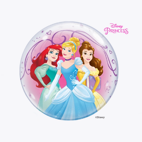 Round bubble balloon with three princesses on the front
