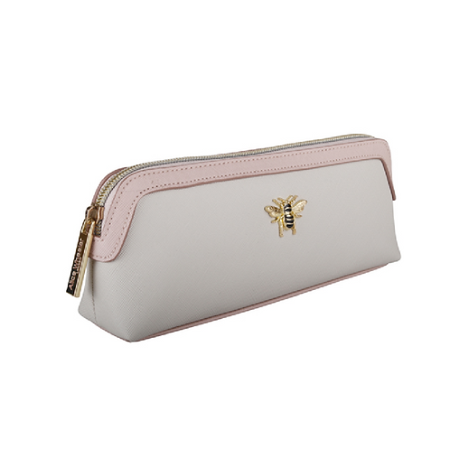 Cream and pink coloured makeup bag with bee motif