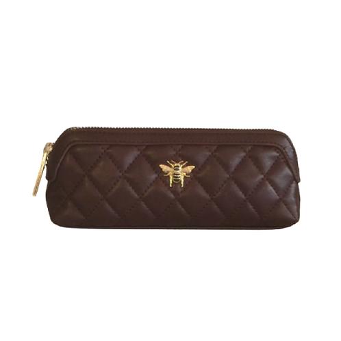 Burgundy makeup bag with bee motif
