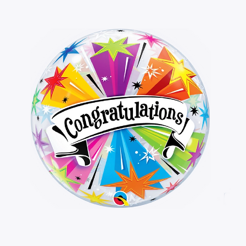 Bubble balloon with star detail and word congratulations on the front