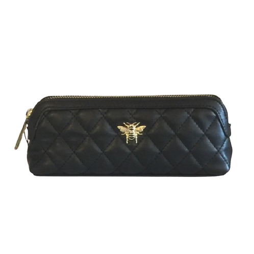Black quilted makeup bag with bee motif