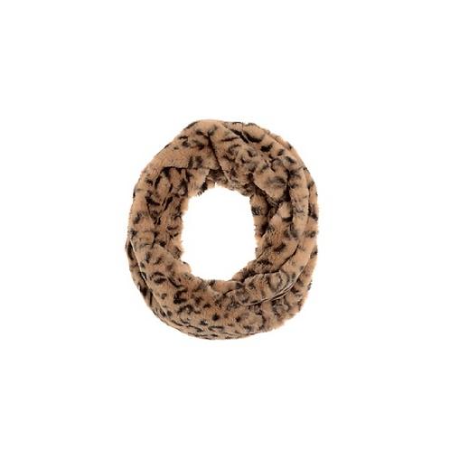 Light brown animal print fur snood