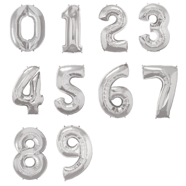 Silver Numbers Helium Balloons