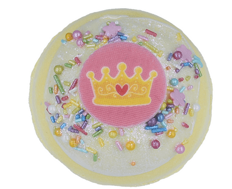 Yellow bath bomb with a crown on the top