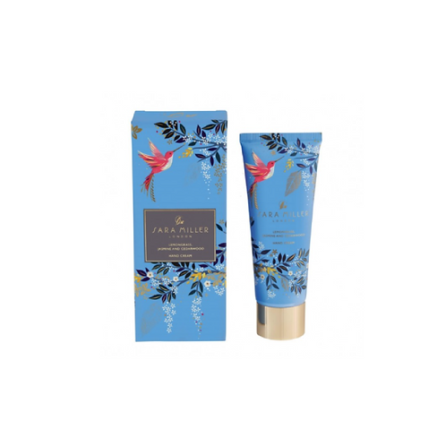 Hand cream box in blue with birds on the front next to matching tube of hand cream