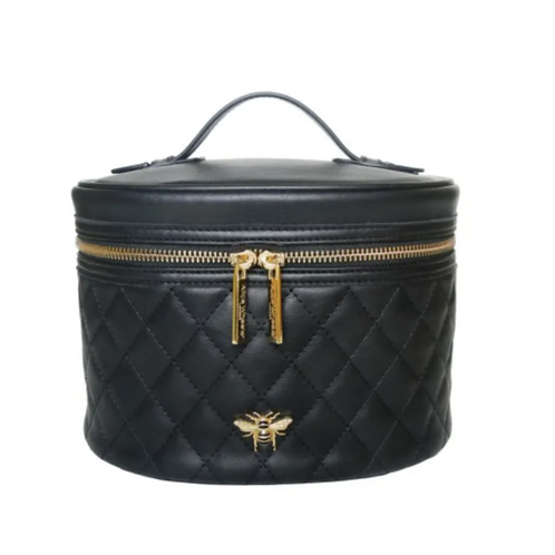 Black round beauty case with gold zip and bee motif