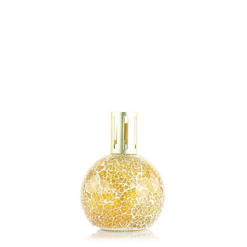 yellow mosaic fragrance lamp with gold lid