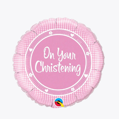 Pink balloon with on your christening written on the front