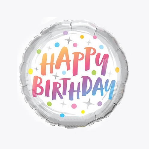 Silver foil balloon with happy birthday in rainbow shades with dots and stars