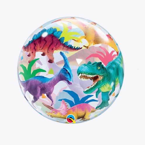 round bubble balloon with dinosaurs all over