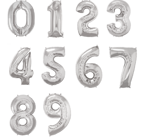 Large silver balloons in the shape of numbers 1-9