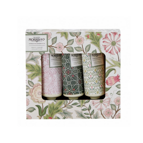 Three tubes of floral patterned hand creams in a box