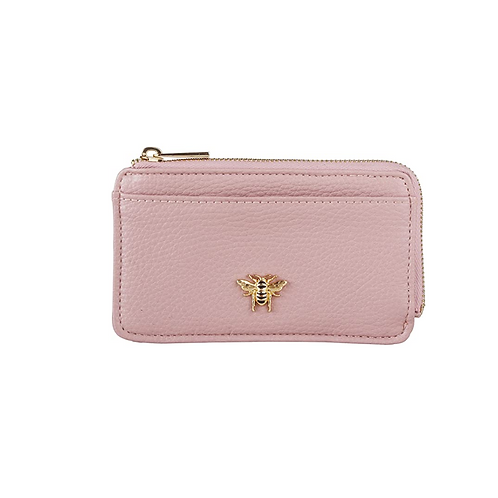 Small pink coin purse with bee motif