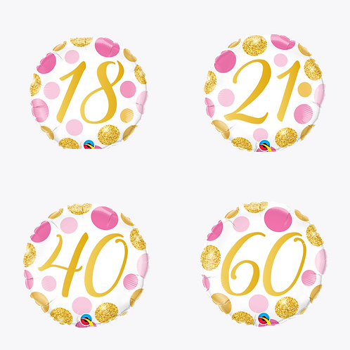 4 balloons with pink and gold dots with the numbers 18, 21, 40 and 60