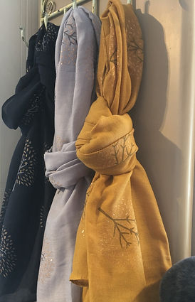 Mustard and grey coloured scarves at Love Lana