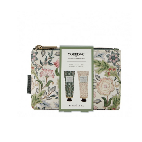 Floral patterned makeup bag with two tubes of hand cream on the front