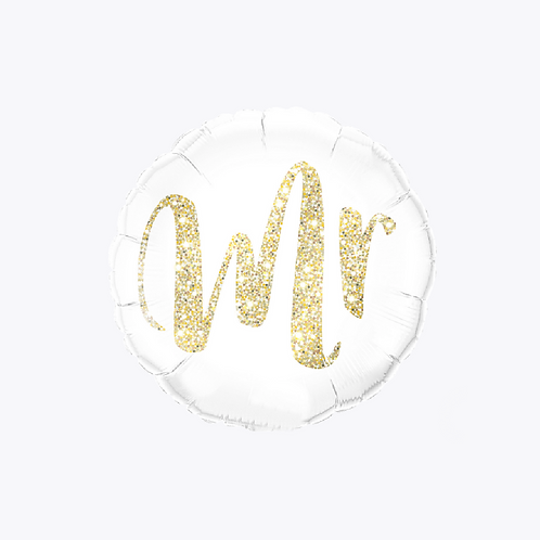 white foil balloon with 'mr' on the front in gold writing