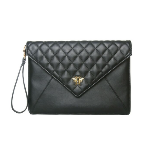Black envelope clutch bag with strap and bee motif
