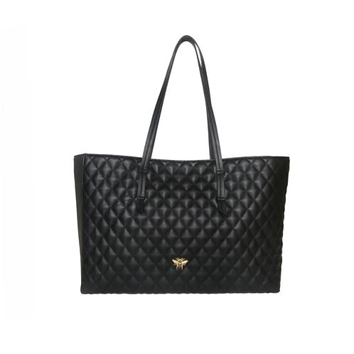 Large Black Quilted Tote Handbag