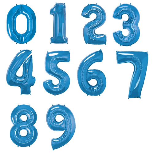 Large foil balloons in the shape of numbers 1-9 in blue