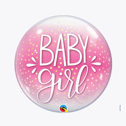 Round balloon with pink background and the words Baby Girl