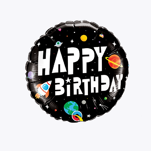 Black foil balloon with planets and rockets on the front and words happy birthday