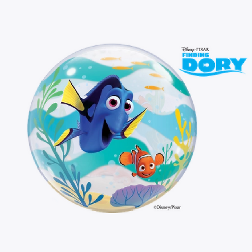 Round bubble balloon with a blue and an orange fish on the front