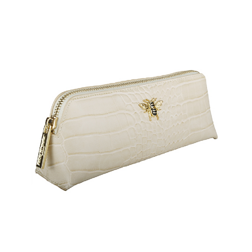 Small cream makeup bag with gold bee motif