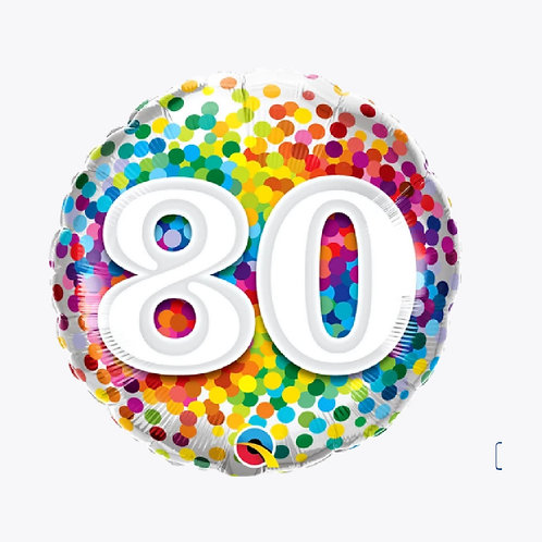 Confetti covered balloon with number 80 on the front