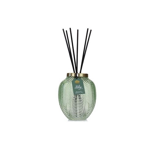 Green glass vase with diffuser stick