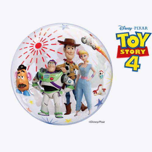 Round bubble balloon with cast of toy story on the front