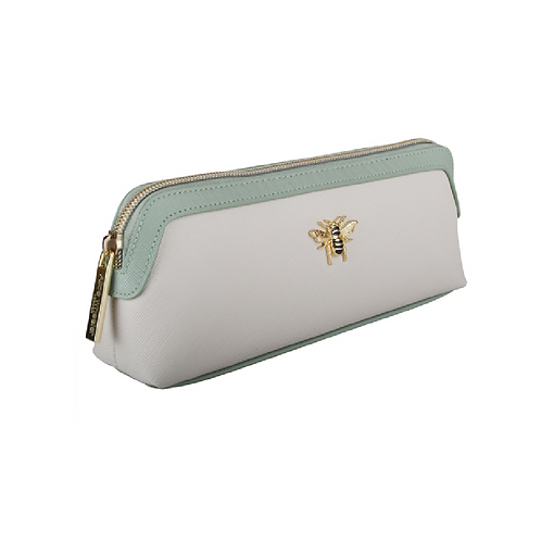 Cream and green coloured makeup bag with bee motif