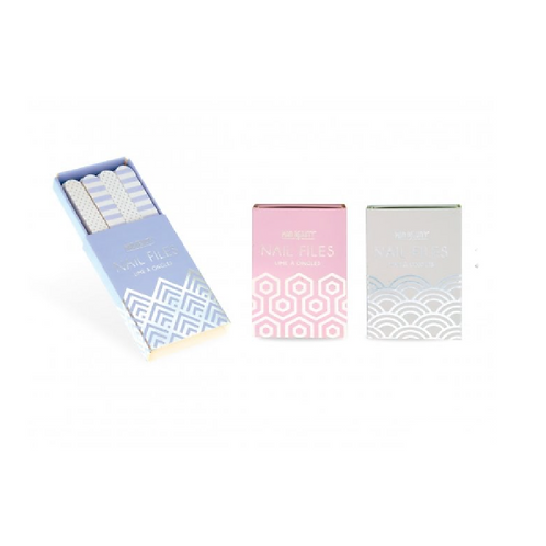 Three small boxes in blue, pink and grey