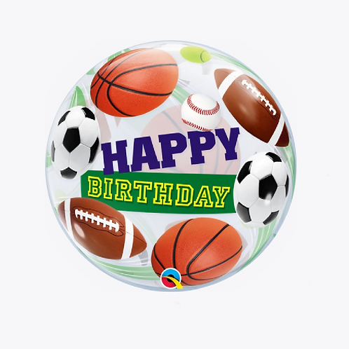 Round bubble balloon with rugby ball, football and happy birthday on the front