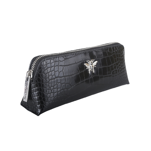 Small black makeup bag with silver bee motif
