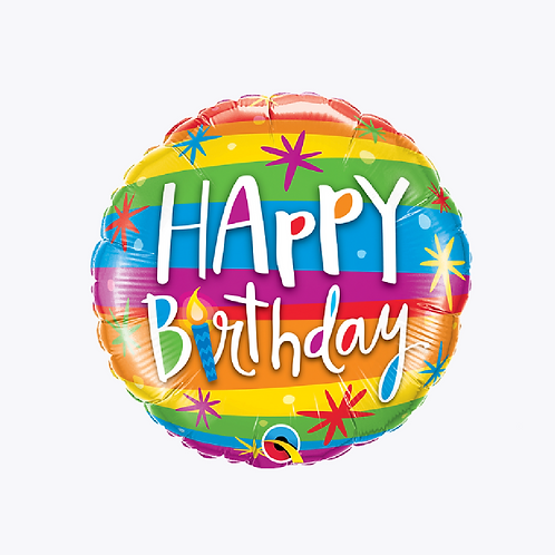 Striped foil balloon in yellow, blue, orange with stars and candles and words happy birthday