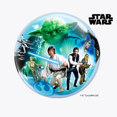 Round bubble balloon with star wars characters on front