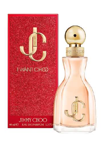Jimmy Choo perfume bottle next to a red box