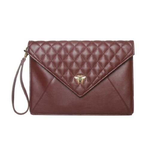 Burgundy envelope clutch bag with strap and bee motif