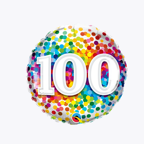 Confetti patterned balloon with 100 on the front