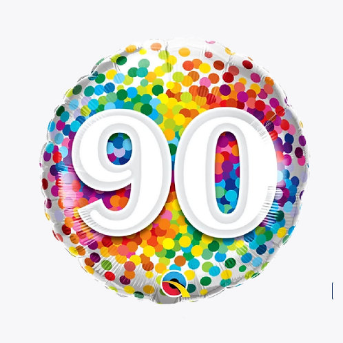 Confetti coloured balloon with number 90 on front