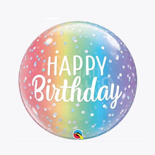 Rainbow balloon with Happy Birthday
