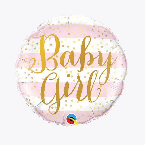 Round foil balloon with pink stripes and the words Baby Girl