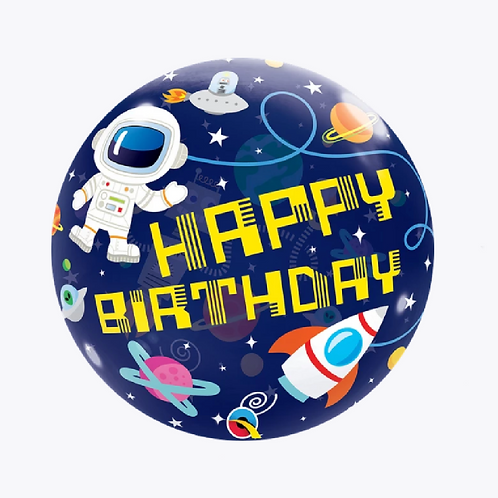 Round bubble balloon with space man, planets and happy birthday wording