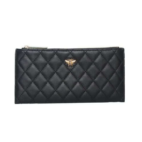 Black quilted purse with bee motif