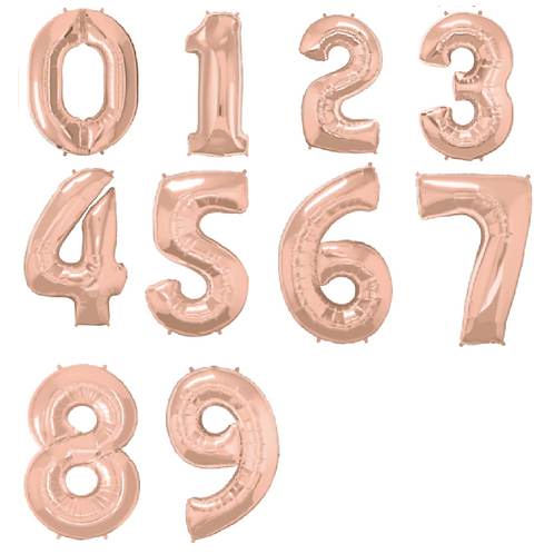 Foil balloons in rose gold colour in numbers 1 - 9