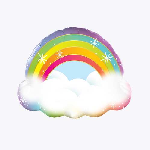 Large foil balloon in shape of a rainbow sitting on a cloud