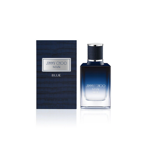 blue and clear bottle next to a navy blue box